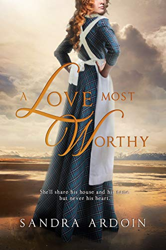 book cover A Love Most Worthy lady with apron and red hair