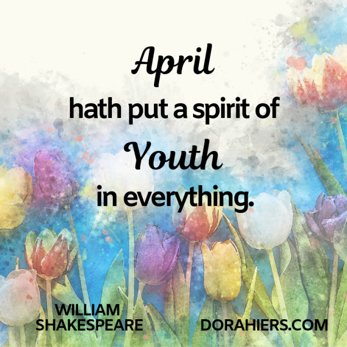 A;pril, spring, flowers, quote